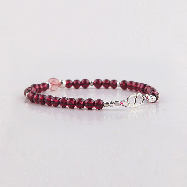 Garnet Sterling Silver Bead Bracelets Handmade Jewelry Accessories Gift Women chic