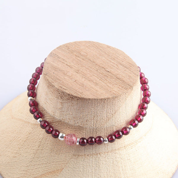 Garnet Sterling Silver Bead Bracelets Handmade Jewelry Accessories Gift Women cute