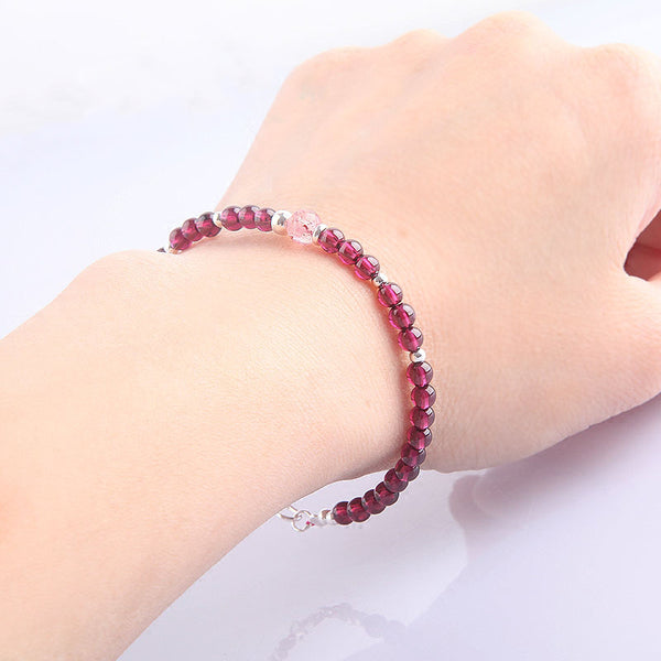 Garnet Sterling Silver Bead Bracelets Handmade Jewelry Accessories Gift Women fine
