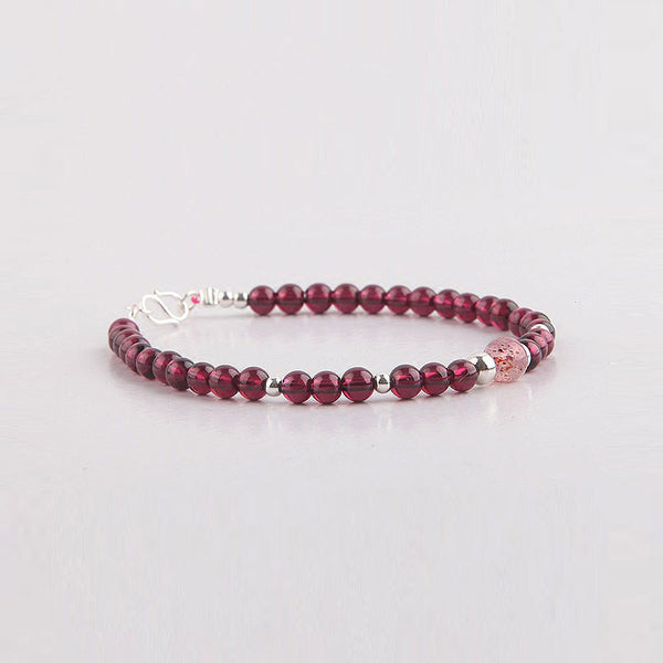 Garnet and Strawberry Quartz Beaded Bracelets Handmade Jewelry Accessories Gift for Women