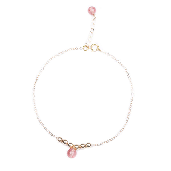 Garnet Strawberry Quartz Crystal Bead Gold Anklet Handmade Jewelry Accessories Women beautiful
