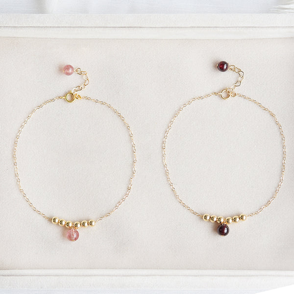 Garnet Strawberry Quartz Crystal Bead Gold Anklet Handmade Jewelry Accessories Women chic