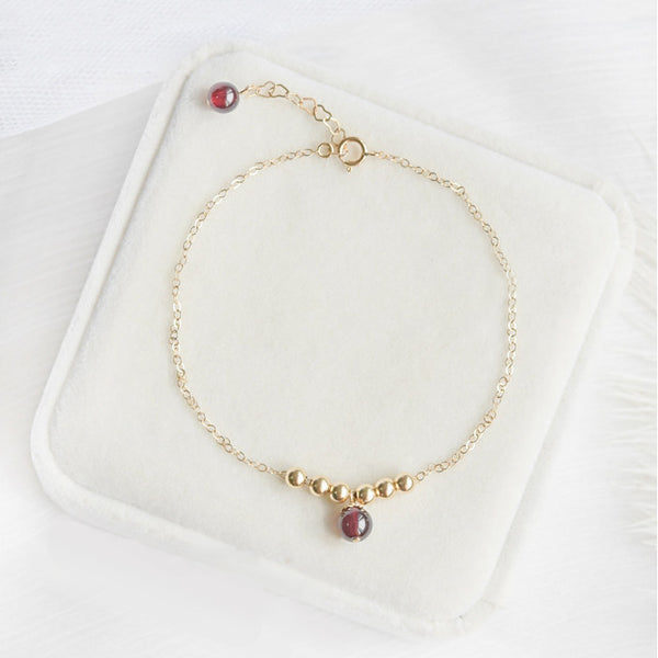 Garnet Strawberry Quartz Crystal Bead Gold Anklet Handmade Jewelry Accessories Women cute