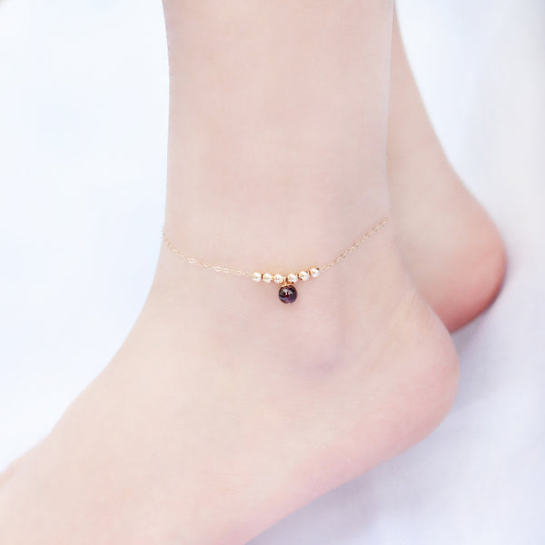 Garnet Strawberry Quartz Crystal Bead Gold Anklet Handmade Jewelry Accessories Women