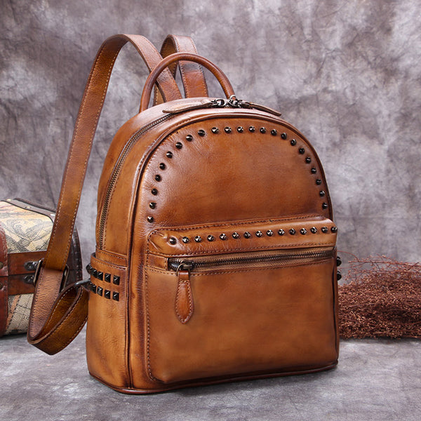 Genuine-Leather-Backpacks-Handmade-Vintage-Backpack-Bags-handbag-School-bags-Women-Brown