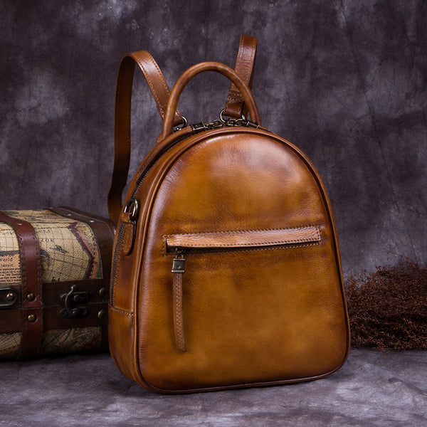 Genuine Leather Backpacks Handmade Vintage Backpack Bags handbag School bags Women Brown