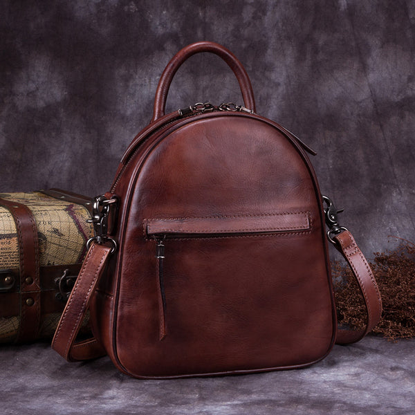 Genuine Leather Backpacks Handmade Vintage Backpack Bags handbag School bags Women Coffee