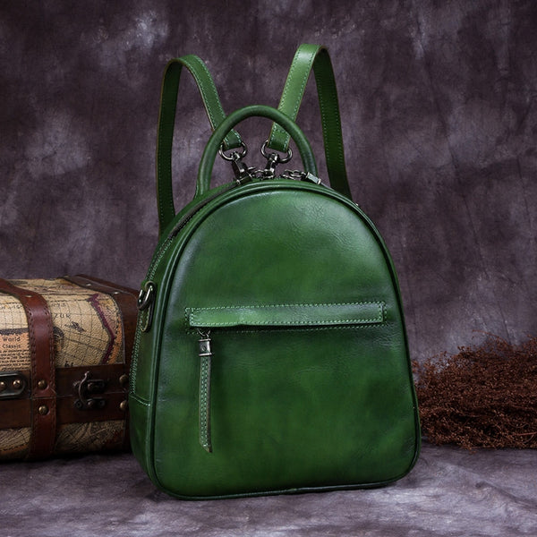 Genuine Leather Backpacks Handmade Vintage Backpack Bags handbag School bags Women Green