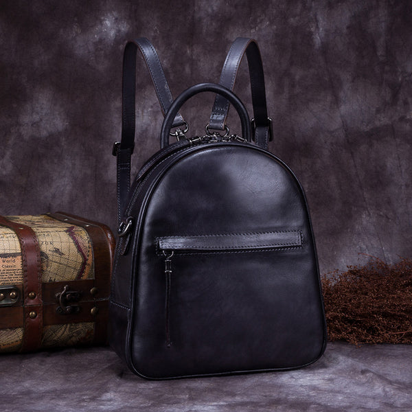 Genuine Leather Backpacks Handmade Vintage Backpack Bags handbag School bags Women Grey