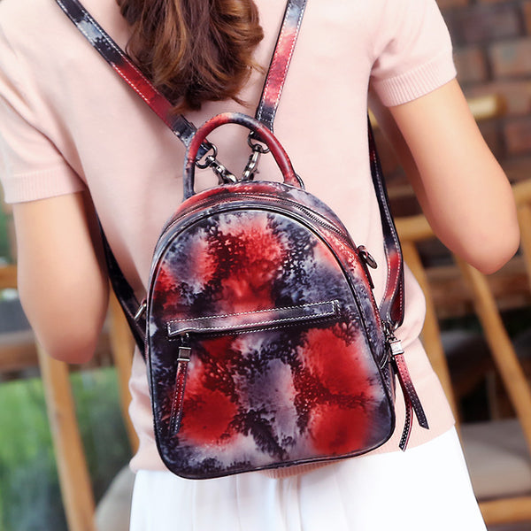 Small Womens Dyeing Leather Backpack Handbags Shoulder Bag for Women