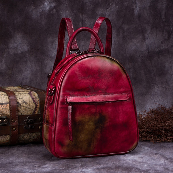 Genuine Leather Backpacks Handmade Vintage Backpack Bags handbag School bags Women Red&Brown
