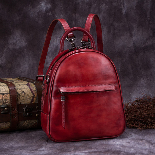 Genuine Leather Backpacks Handmade Vintage Backpack Bags handbag School bags Women Red