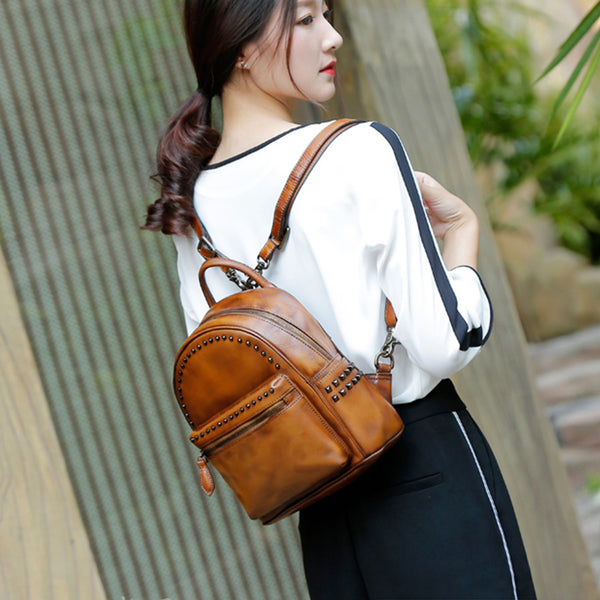 Rivets Womens Vintage Leather Backpack Leather Backpacks for Women
