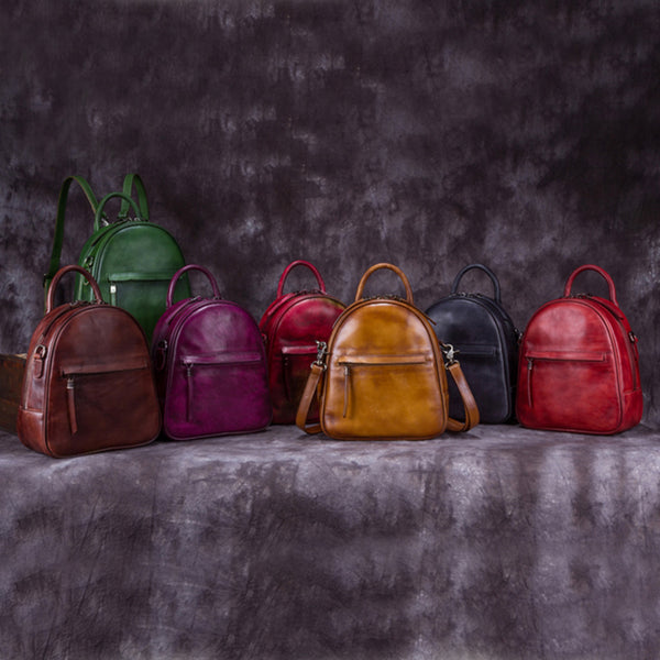 Genuine Leather Backpacks Handmade Vintage Backpack Bags handbag School bags Women cool