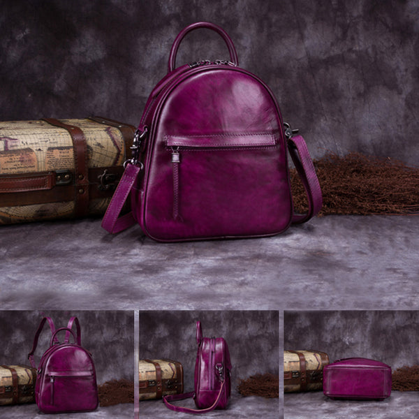 Genuine Leather Backpacks Handmade Vintage Backpack Bags handbag School bags Women nice