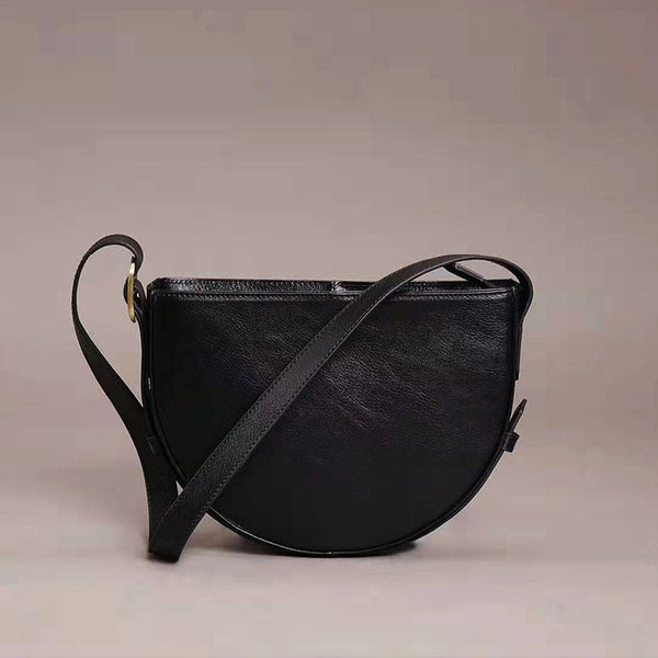 Genuine Leather Half-round Cross Shoulder Bag Side Bags Purse For Women Affordable