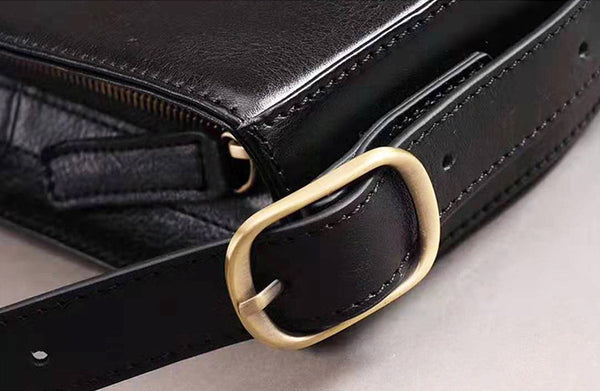Genuine Leather Half-round Cross Shoulder Bag Side Bags Purse For Women Details