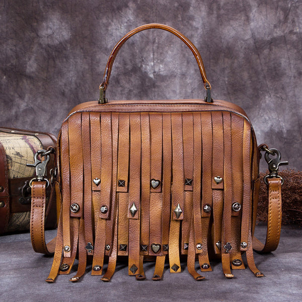 Genuine Leather Handbag Crossbody Shoulder Bags Purses Women Brown
