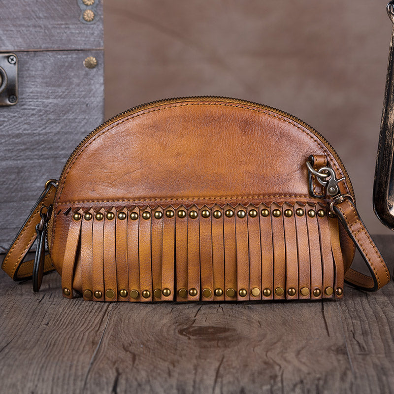 Genuine Leather Handmade Crossbody Shoulder Bags Purses Accessories Women Brown