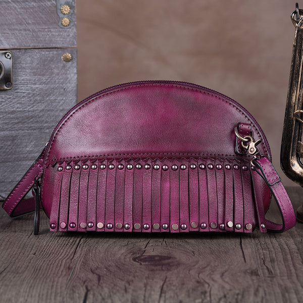 Genuine Leather Handmade Crossbody Shoulder Bags Purses Accessories Women Purple