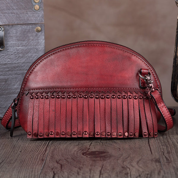 Genuine Leather Handmade Crossbody Shoulder Bags Purses Accessories Women Red