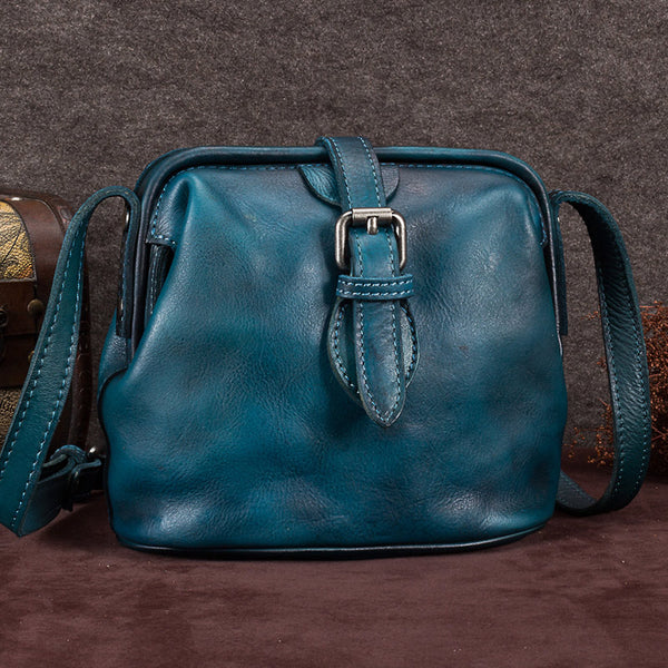 Genuine Leather Handmade Vintage Crossbody Shoulder Bags Purses Accessories Gift Women Blue