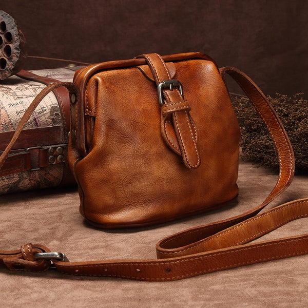 Genuine Leather Handmade Vintage Crossbody Shoulder Bags Purses Accessories Gift Women Dark Brown