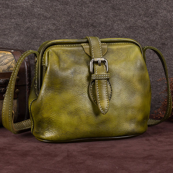 Genuine Leather Handmade Vintage Crossbody Shoulder Bags Purses Accessories Gift Women Khaki