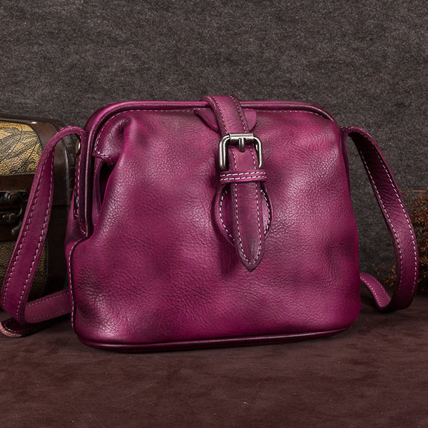 Genuine Leather Handmade Vintage Crossbody Shoulder Bags Purses Accessories Gift Women Purple