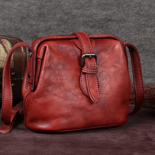 Genuine Leather Handmade Vintage Crossbody Shoulder Bags Purses Accessories Gift Women Red