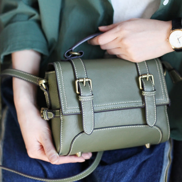 Genuine Leather Messenger Bags Cambridge Handbag Satchel Purses Women green