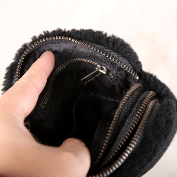 Genuine Leather One Fur Short Zip Wallets Clutches Coin Card Wallet Purse Women Men Unique