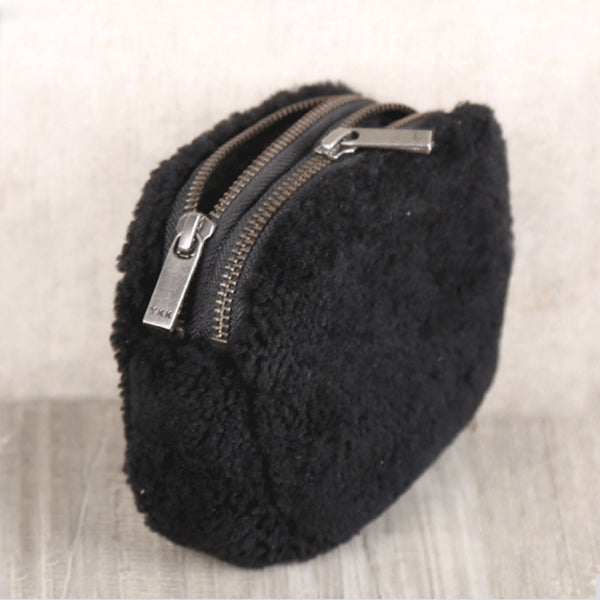 Genuine Leather One Fur Short Zip Wallets Clutches Coin Card Wallet Purse Women Men Handmade