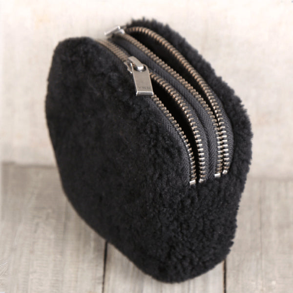 Genuine Leather One Fur Short Zip Wallets Clutches Coin Card Wallet Purse Women Men Minimalism