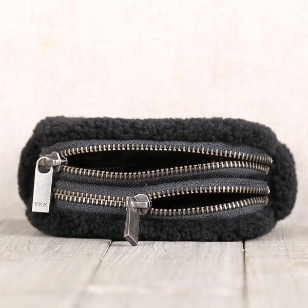 Genuine Leather One Fur Short Zip Wallets Clutches Coin Card Wallet Purse Women Men black