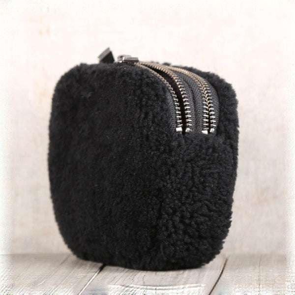 Genuine Leather One Fur Short Zip Wallets Clutches Coin Card Wallet Purse Women Men fine