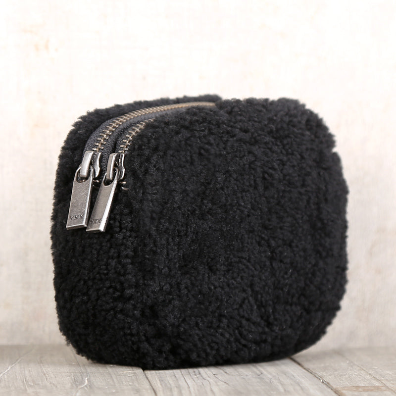 Genuine Leather One Fur Short Zip Wallets Clutches Coin Card Wallet Purse Women Men