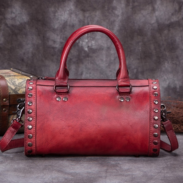 Genuine Leather Punk Handbag Crossbody Shoulder Bags Purses Accessories Women Red