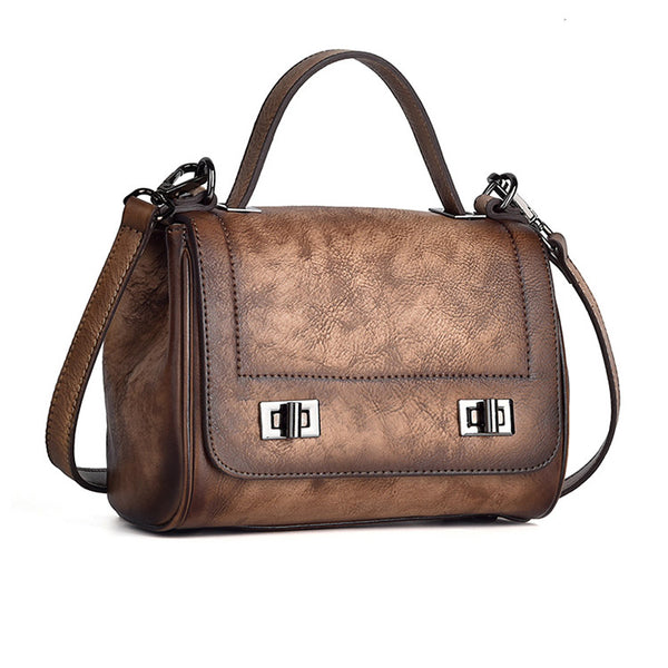 Genuine Leather Satchel Bag Crossbody Bags Shoulder Bag Purses for Women Brown