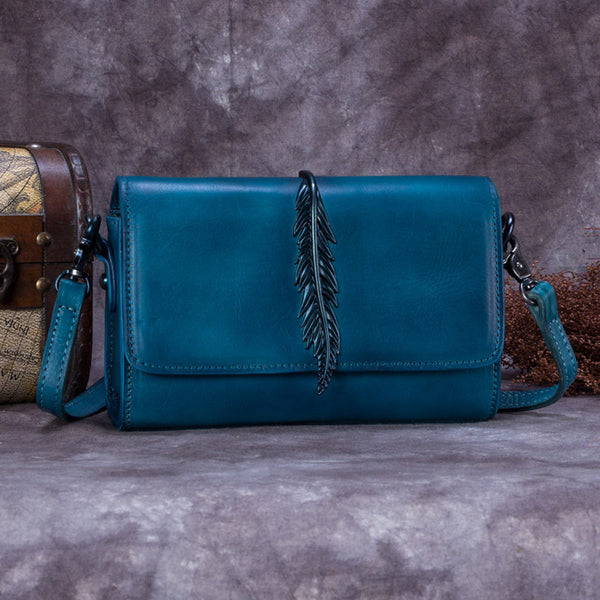 Genuine Leather Vintage Crossbody Shoulder Bags Purses Women Blue