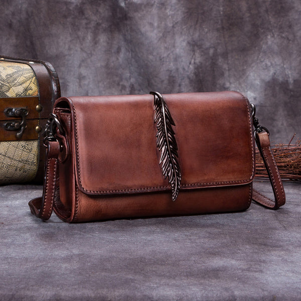 Genuine Leather Vintage Crossbody Shoulder Bags Purses Women Coffee