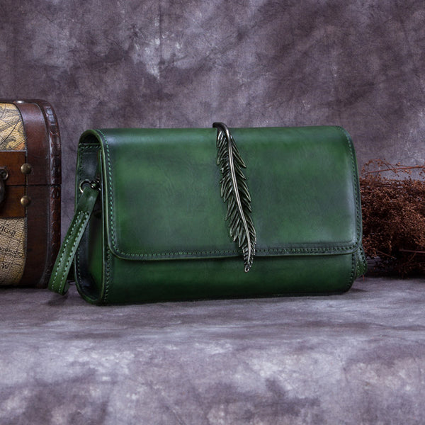 Genuine Leather Vintage Crossbody Shoulder Bags Purses Women Green