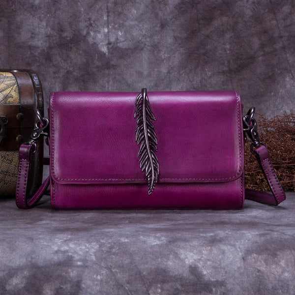 Genuine Leather Vintage Crossbody Shoulder Bags Purses Women Purple