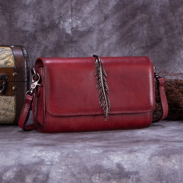 Genuine Leather Vintage Crossbody Shoulder Bags Purses Women Red
