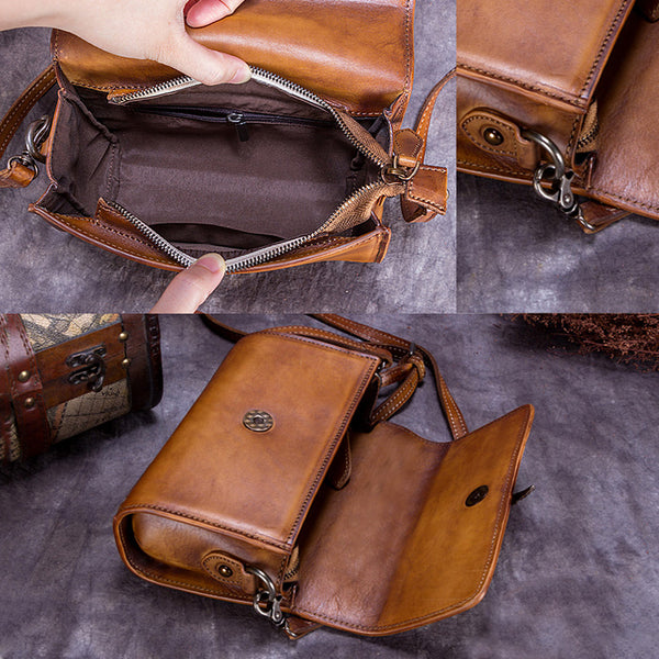 Genuine Leather Vintage Crossbody Shoulder Bags Purses Women details