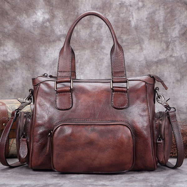 Genuine Leather Vintage Handbag Crossbody Shoulder Bags Purses Accessories Women Coffee