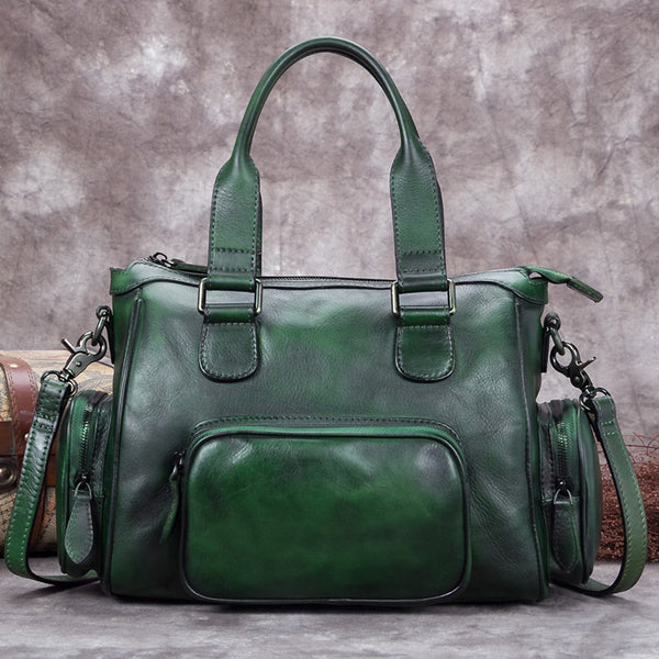 Genuine Leather Vintage Handbag Crossbody Shoulder Bags Purses Accessories Women Green