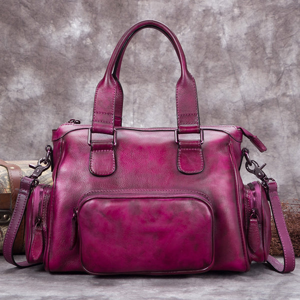 Genuine Leather Vintage Handbag Crossbody Shoulder Bags Purses Accessories Women Purple