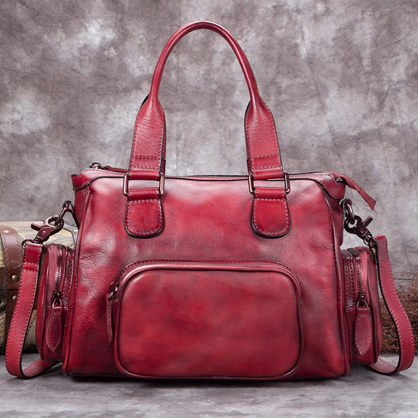 Genuine Leather Vintage Handbag Crossbody Shoulder Bags Purses Accessories Women Red