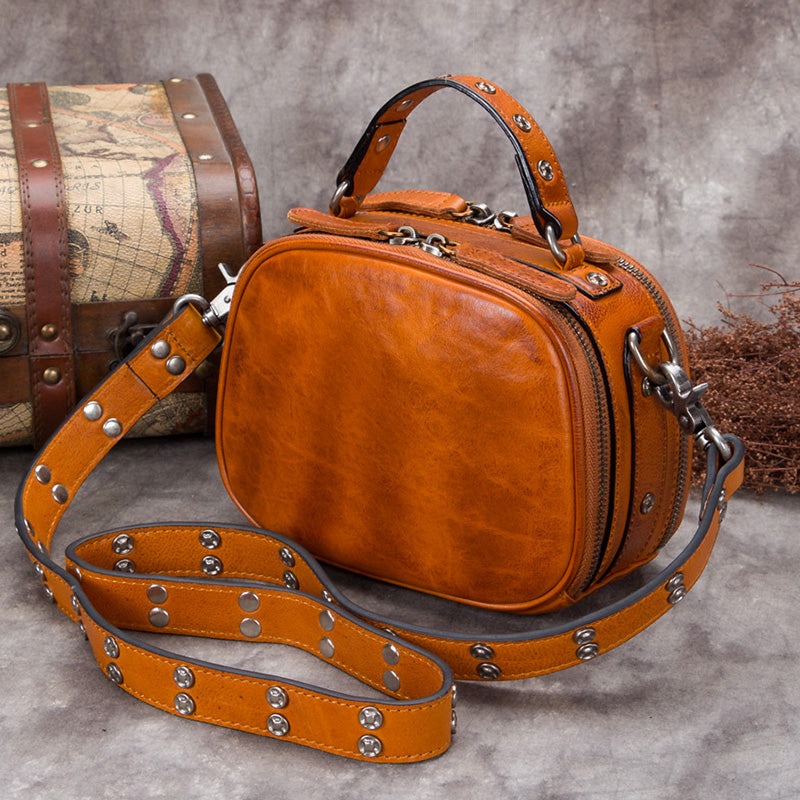 Genuine Leather Vintage Handbag Crossbody Shoulder Bags Purses Women Brown